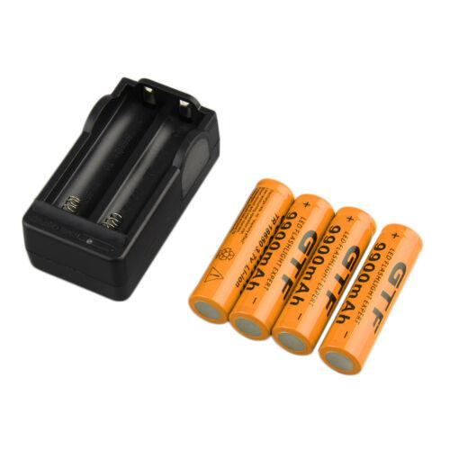 4pcs 18650 3.7V 9900mAh Li-ion Rechargeable Battery EU Charger Indicator    `8