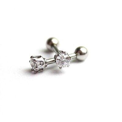 16G Steel Crystal Gem Piercing Ear Tragus Bar Cartilage Helix Stud Earrings US