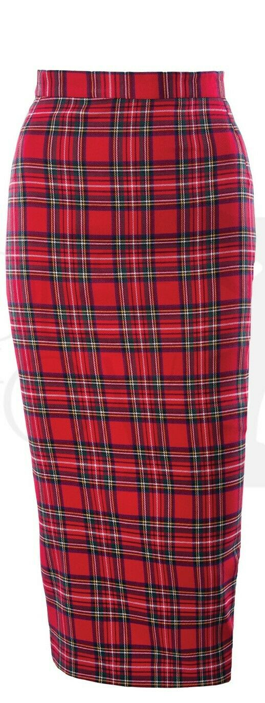 House of Foxy 50's Red Tartan Retro Vintage Style Pencil Skirt
