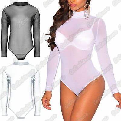 Ladies Long Sleeve Stretch Round Neck Bodysuit Leotard Top Plain Under Fasten