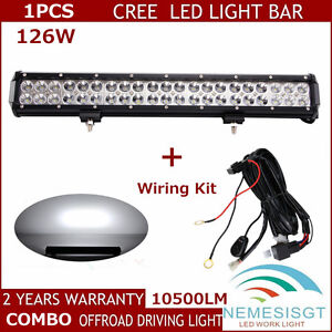 cree led wiring harness genssi led wiring harness 126w 20inch cree flood spot combo beam led work light bar ...