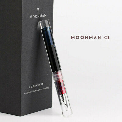 NEW Moonman C1 Eye Dropper Filling Fountain Pen Fully Transparent Large-Capacity Ink Storing with Converter Iridium Fine 0.6mm Fashion Gift