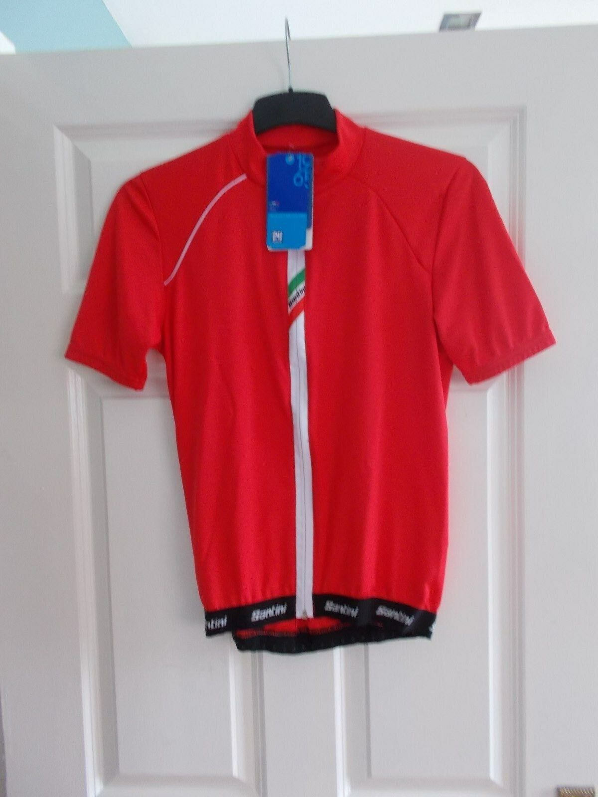 New Santini Herren rot Zeit Lite Ziped Short Sleeve Jersey Größe  Medium