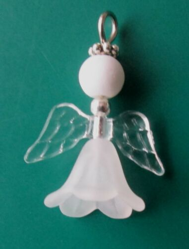 24 x GUARDIAN ANGELS LUCITE 12 WINGS FAIRY CHARMS GLASS PEARL DIY KIT