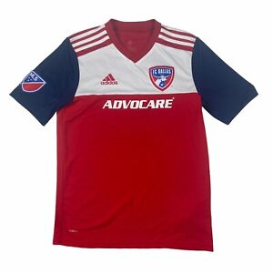 Addas Mens FC Dallas MLS Polyester Soccer Shirt Red White Blue Size XL