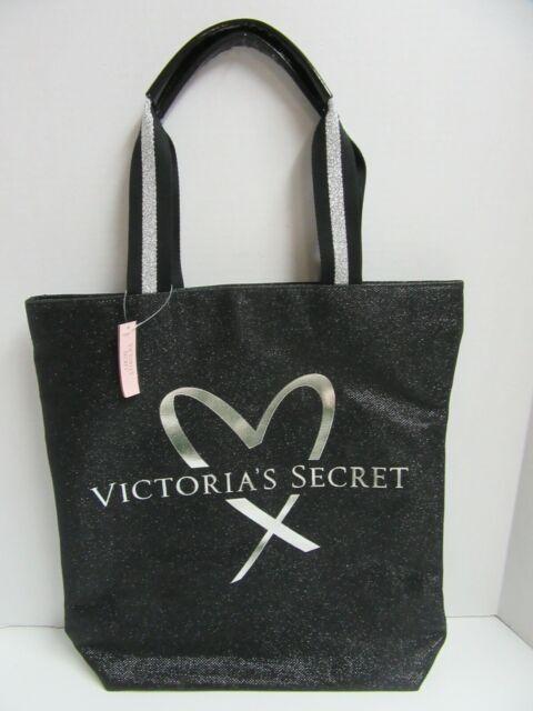Victorias Secret Tote Bag Glitter Black Sparkle Bling 15x16