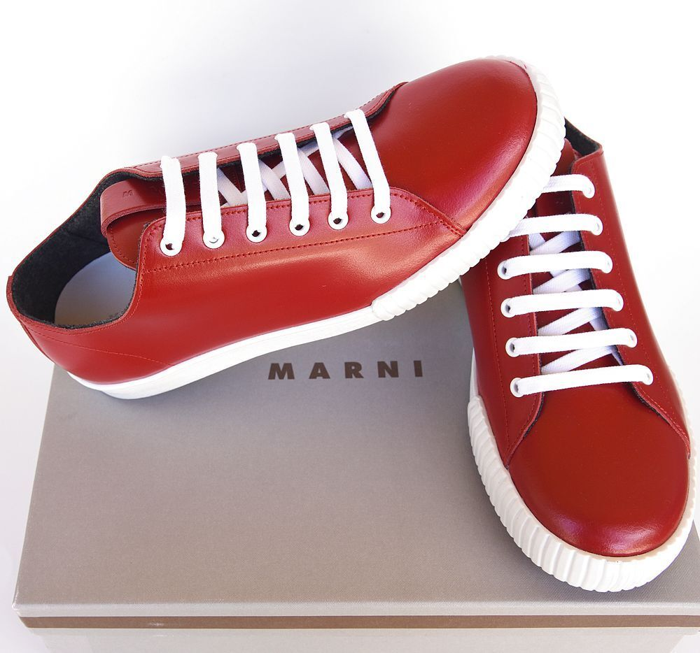 ee4f3a811b4 sz MARNI 42 New red shoes Sneakers Top Low Leather Mens Designer ...