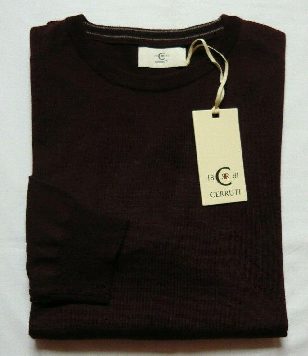 Cerruti 1881 HE Pullover Gr.XL 50 52 Merinowolle Acryl Rund bordeaux  NEU | Lebendige Form