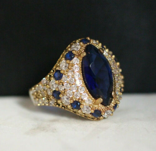 925 Sterling Silver Handmade Authentic Turkish Sapphire Ladies Ring Size 7