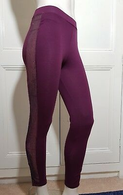 Ladies Burgandy, Sequin Side Panel Leggings By Tg Size 8 Brand New