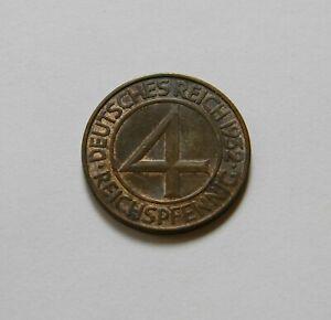 Weimar: 4 Reichspfennig 1932D, J. 315 ,Fast sin Circulación, V
