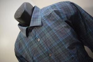 37582-Mens-Bugatchi-Uomo-Shaped-Fit-Plaid-Button-Up-Dress-Shirt-Size-2XL-XXL