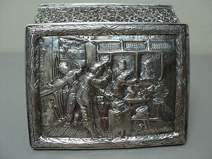 European Style Silver Jewelry Box with Relief Engraving and Velvet Interior