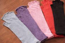 Women's thin soft 100% wool half finger long length gloves fingerless Black