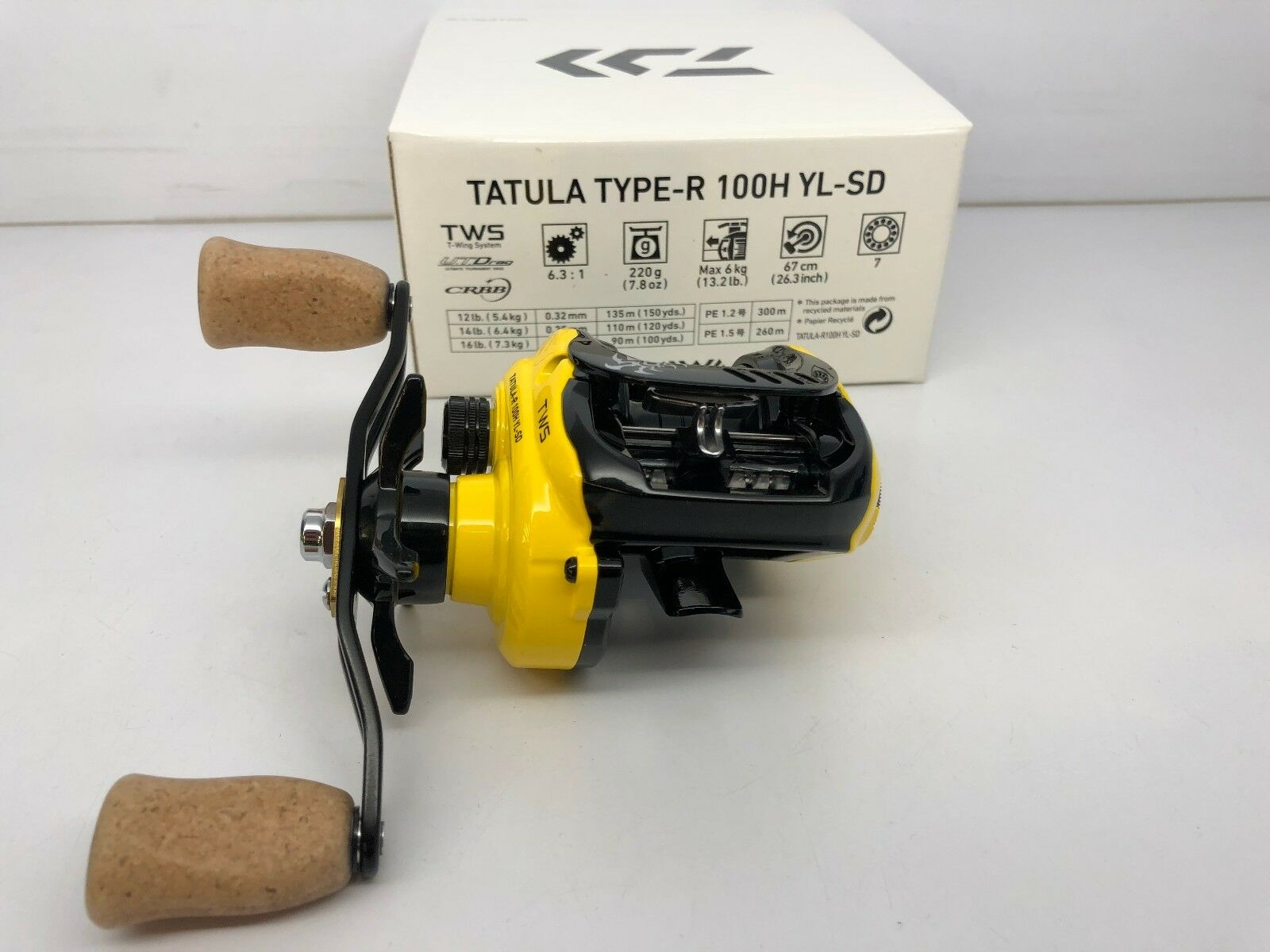 Daiwa Tatula Type-R 100H YL-SD Yellow right reel Limited edition cork handle