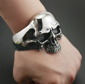 Herren-Totenkopf-Armband-Armreif-Edelstahl-schwer-gross-Biker-Rocker-Punk