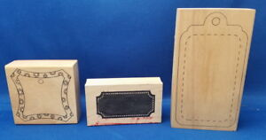 LOT-TAGS-Wooden-Rubber-Stamp-3-pc-Scrapbook-Stamping-Craft