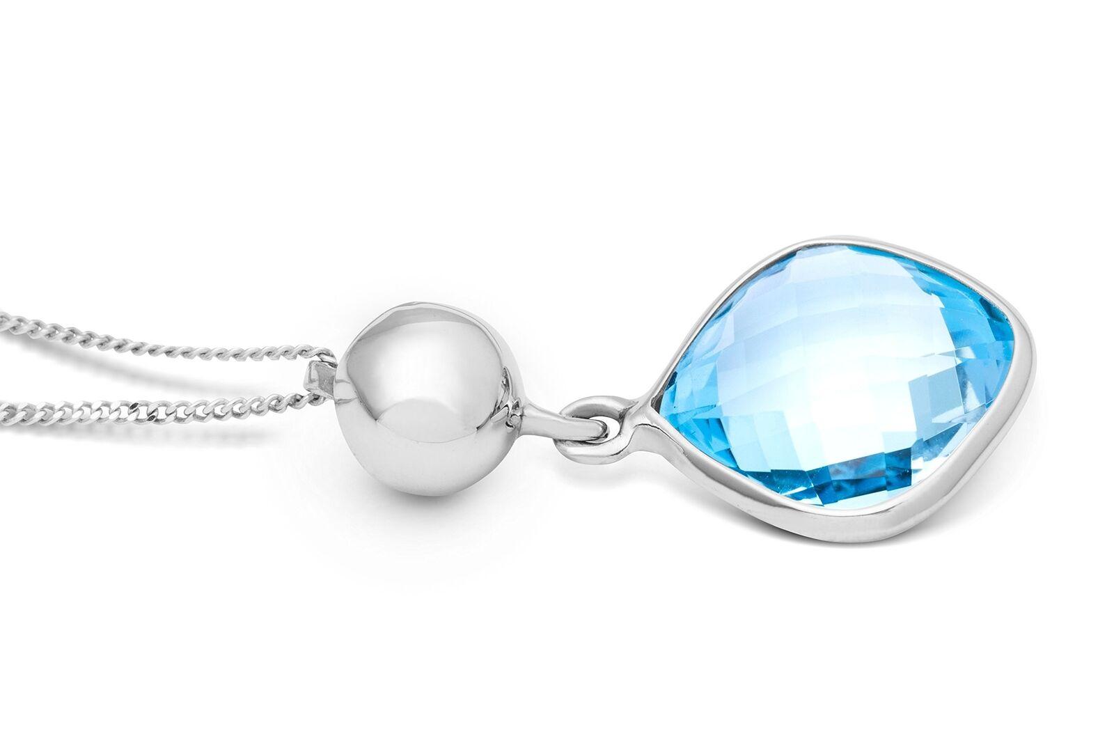 MIORE Donna oro Bianco 9 ct ct ct azzurro topazio Ciondolo su catena 45 cm 5b042a