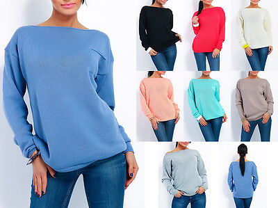 Top Woman Casual Sweater Scoop Neck Stretch Jumper Versatile  Size 8-12