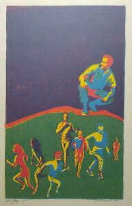 Mid-Century-Abstract-Silkscreen-Signed-Roach-Wall-Art-Jog-Jag-Vintage
