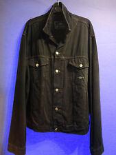 Charro MEN'S Chaqueta De Jean Denim Vintage Negro Tamaño XL Hecho en Italia 90`S