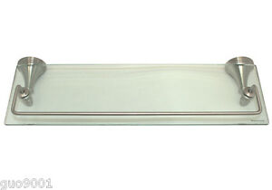 "Brushed Nickel Bathroom Bath Accessories 18"" x 6"" Glass Shelf Hardware Accessory"