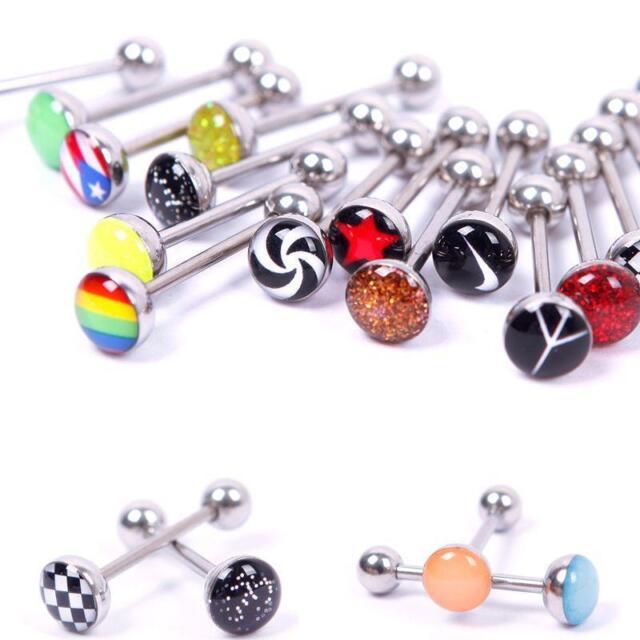 30X Metal Piercing Tongue Rings Steel Bars Barbells Funny Nasty Wording FG