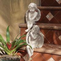 Set Of 2 Stone Finish Baby Angel Cherub Statues Garden Statue Sculpture