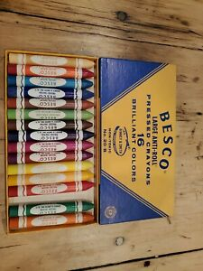 Vintage-15-Large-Besco-Anti-Roll-Crayons-set-is-missing-one-color-as-found
