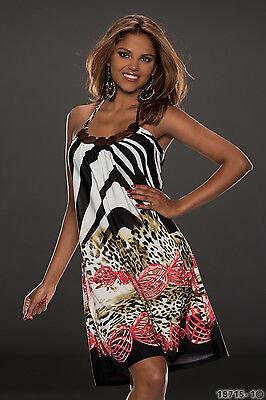 5361 Kleid im Neckholder-Look  Minikleid dress verfügbar in  3 Farben Gr. 36 38