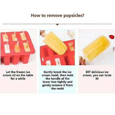 6//10 Cell Silicone Frozen Ice Cream Mold Juice Popsicle Maker Ice Lolly Mould