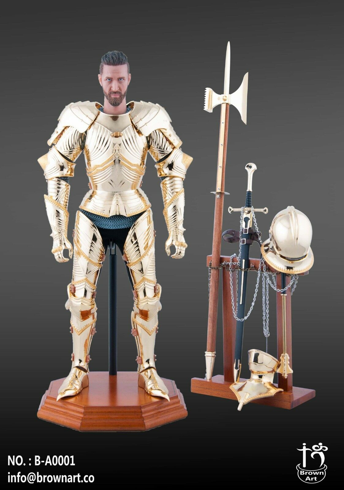 Braune kunst full metal Goldene gotischen panzer knight 1   6 abb.