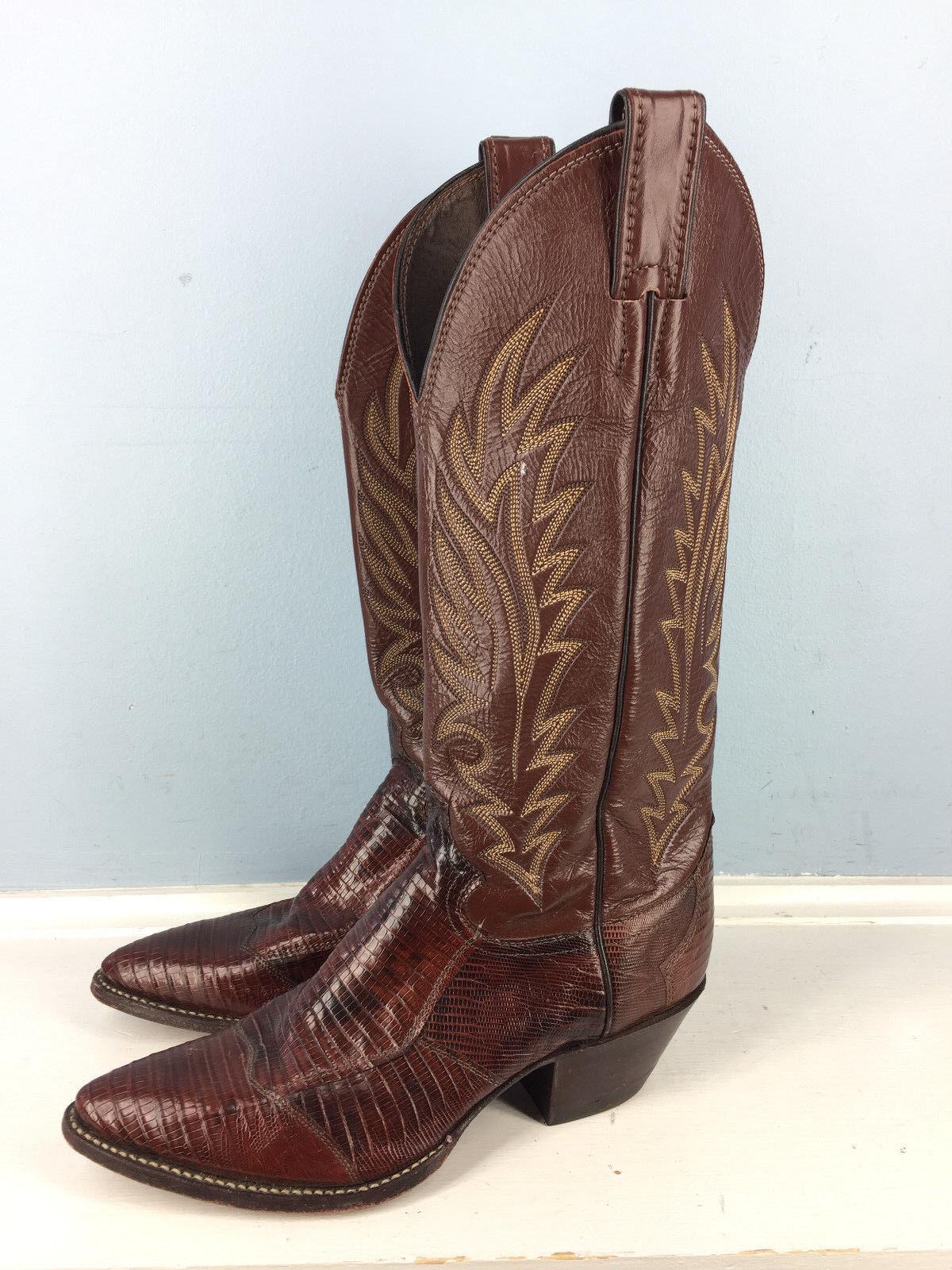 JUSTIN Brown Pelle stitched Cowboy Boot 7 D Reptile Pelle Excellent