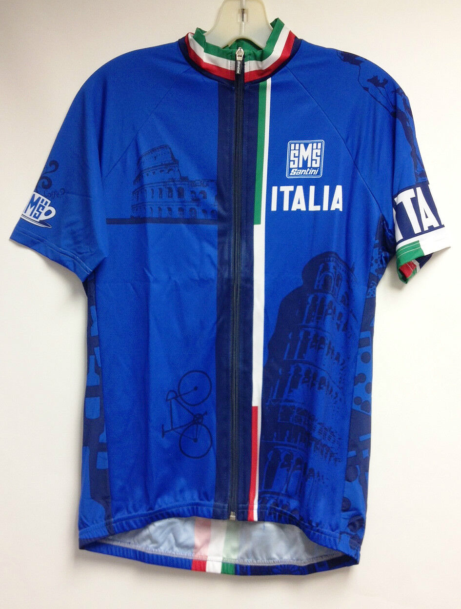 Italia Cycling  Jersey in Royal bluee Made in  by Santini  counter genuine