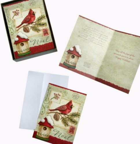 "30 Ct ""Noel"" Cardinal 3D Glittered Holiday Xmas Greeting Cards 4x5.75 NIP"