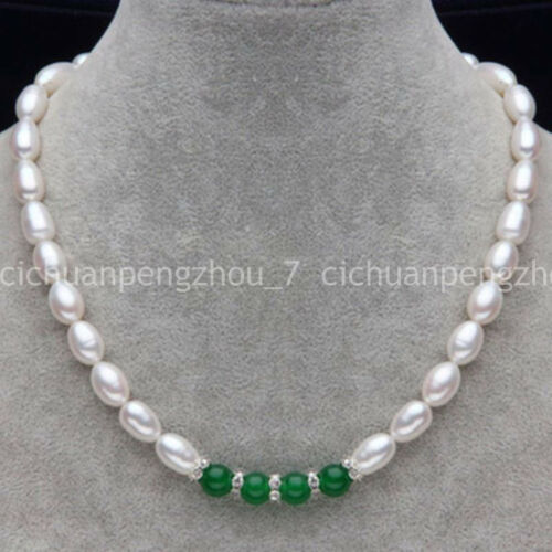 """Fashion Natural 7-8MM White Rice Akoya Pearl /& Green Jade Beads Necklace 18/"""""""