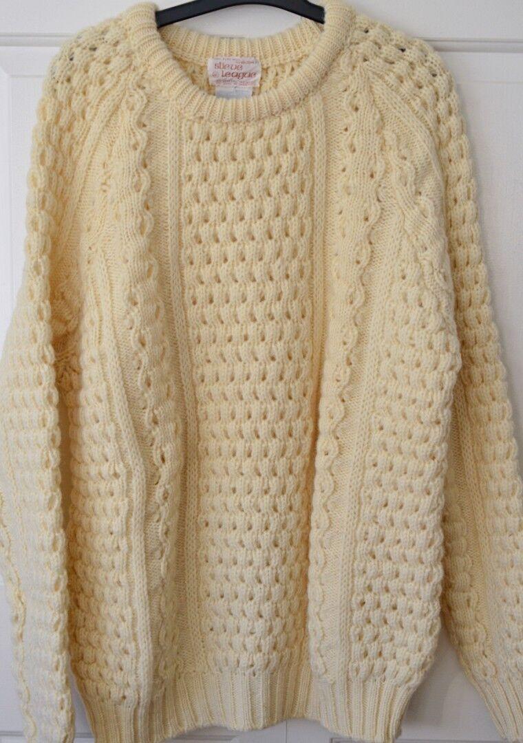 Slieve League Mens 46 Irish Wool Fisherman Sweater Cream Ivory Handloomed