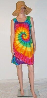 Women/'s MultiColor Tie-Dye Print Beaded Halter Dress L XL M S