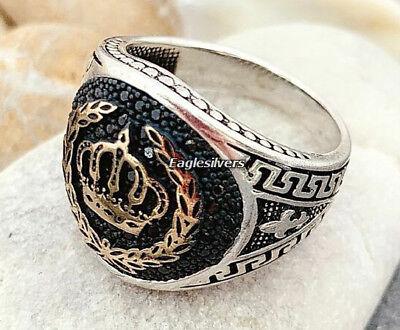 Handgemacht Krone Design 925 Sterlingsilber Herren Damen Ring Dass Haare Vergrau Werden Und Helfen Schwarz Steine 2 Verhindern Den Teint Zu Erhalten