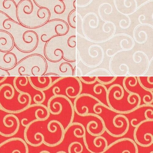 Flowing Swirly Curly Twin Scroll Cotton Rich Linen Look Upholstery Fabric