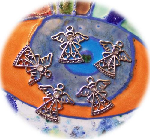 6 Grande Métal Pendentif Ange 23 mm œillet 2 mm argent antique Enfants Chaîne Bricolage
