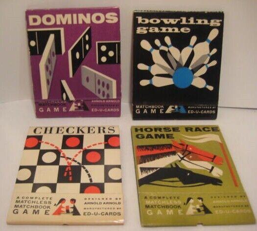 Fyra stora Matchboks Game Books, Horse Race Bowling Checkers Dominos NICE