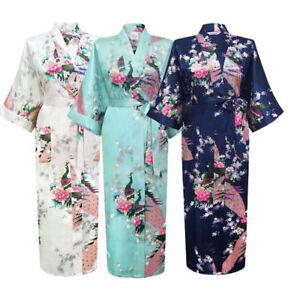 Promotional-Bride-Long-Women-Kimono-Robe-satin-silk-Night-dressing-Gown-New
