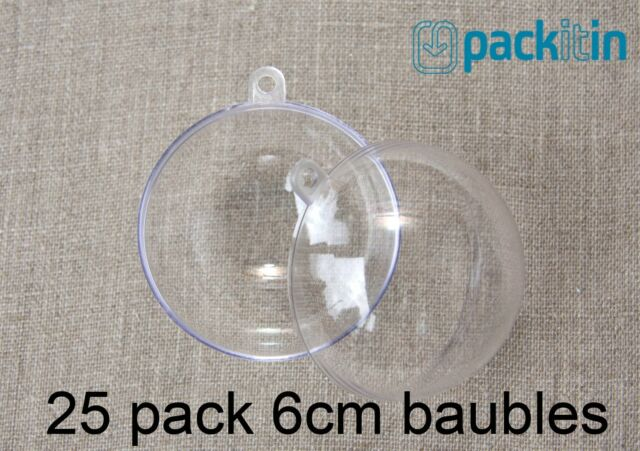 6cm (x25 qty) Clear Acrylic Two Piece ROUND Baubles Balls christmas ornaments