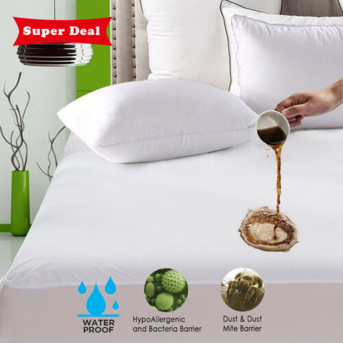 Waterproof Fitted Sheet Mattress Cover Pad Protector Soft Terry Towel Non-Skid //