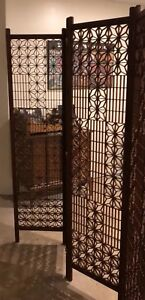 Details About Antique Anese 4 Panel Wood Folding Screen Room Divider