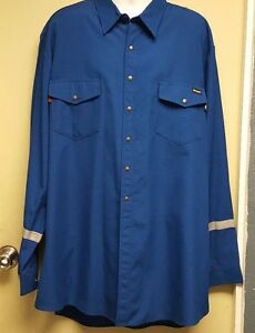 ee8385895bc2 Workrite FRC NOMEX IIIA Royal Blue Shirts With Snaps   Reflective ...