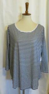 Xersion-Studio-Women-039-s-XL-blue-white-striped-long-tunic-short-sleeve-shirt-top