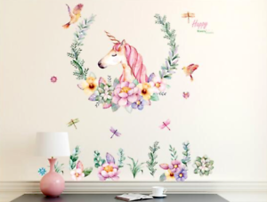 Pastels-Floral-UNICORN-Wall-Art-Decal-Stickers-Girls-Bedroom-UK-SELLER-FREE-P-amp-P