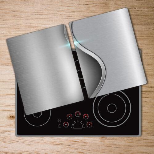 Glas-Herdabdeckplatte Ceranfeldabdeckung 2x40x52 Zweiteilig Metall Curve
